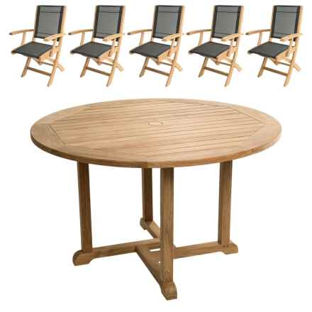 "Three Birds Casual Premium Teak Oxford 48"" Round Dining Table and Riviera Folding Arm Chairs - 6-Piece Set in Natural - Closeouts"
