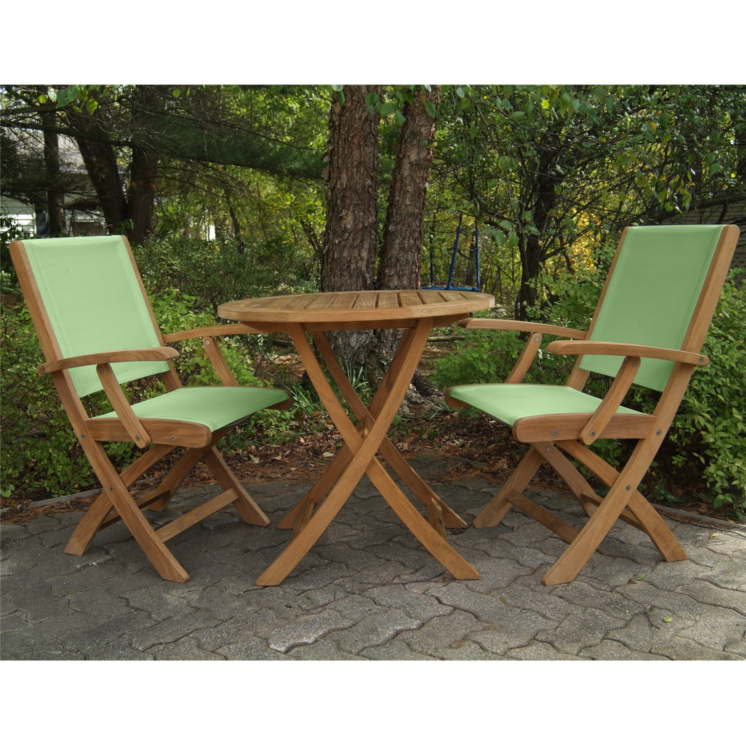 Three Birds Casual Riviera Folding Armchairs and Cambridge Table