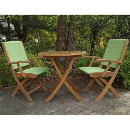 Three Birds Casual Riviera Folding Armchairs and Cambridge Table Bistro Set - 3-Piece in Teak/Green - Overstock