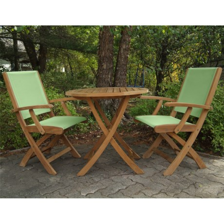 Three Birds Casual Riviera Folding Armchairs and Cambridge Table Bistro Set - 3-Piece in Teak/Green