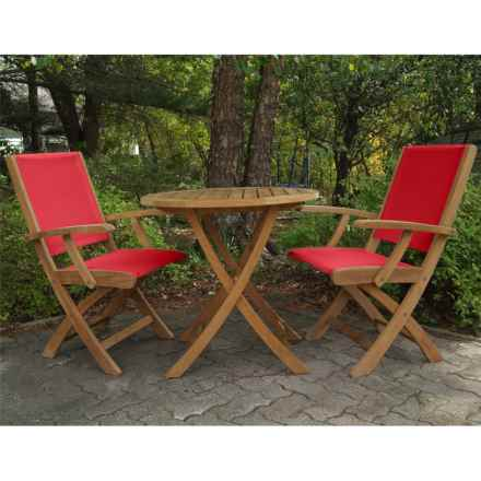 Three Birds Casual Riviera Folding Armchairs and Cambridge Table Bistro Set - 3-Piece in Teak/Red - Overstock