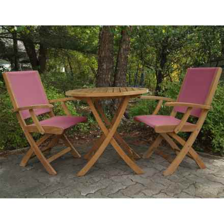Three Birds Casual Riviera Folding Armchairs and Cambridge Table Bistro Set - 3-Piece in Teak/Wineberry - Overstock