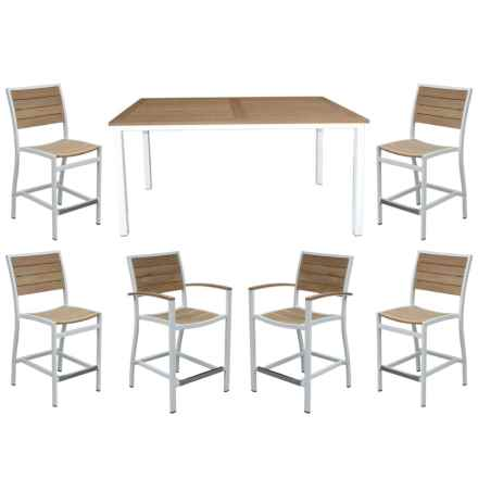 """Three Birds Casual Soho 72"""" Counter-Height Table and Six Armchairs Patio Set - 7-Piece in White/Natural - Closeouts"""