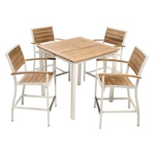Three Birds Casual Soho Counter Height Table with 4 Soho Armchairs - 5-Piece Set in White - Overstock