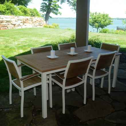 Three Birds Casual Soho Rectangular Table and Chairs Set - 7-Piece in Teak/White - Overstock