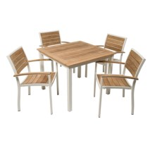 Three Birds Casual Soho Square Dining Table with Stacking Armchairs in White - Overstock