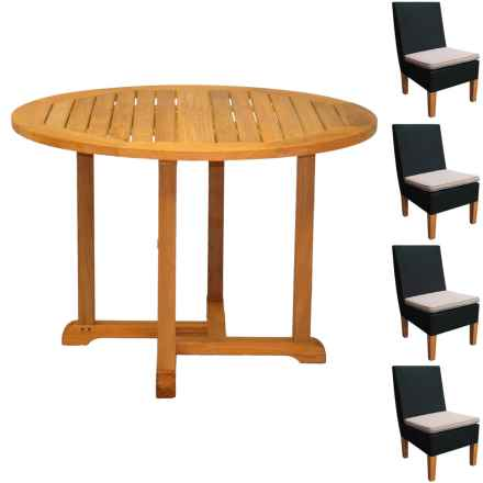 """Three Birds Casual Teak 42"""" Dining Set with All-Weather Wicker Chairs - 5-Piece Set in Teak / Brown - Closeouts"""