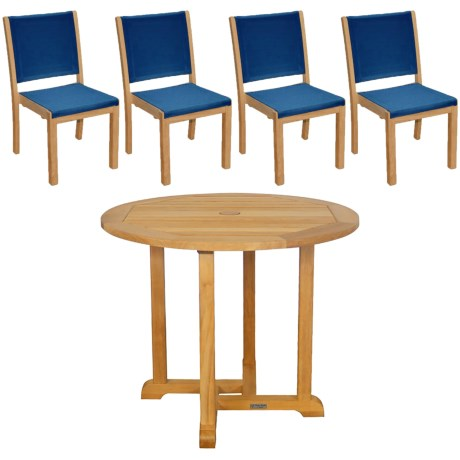 "Three Birds Casual Teak Oxford 36"" Table and Riviera Stacking Side Chairs - 5-Piece Set in Natural/Sea Island Blue"