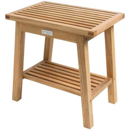 Three Birds Casual Teak Shower Bench in Natural - Overstock