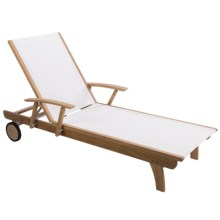 Three Birds Casual Teak Sling Lounge Chair in White - Overstock