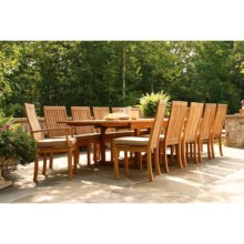 Three Birds Casual Teak Wood Dining Set - 13-Piece, Rectangular Extension Table in Natural - Closeouts