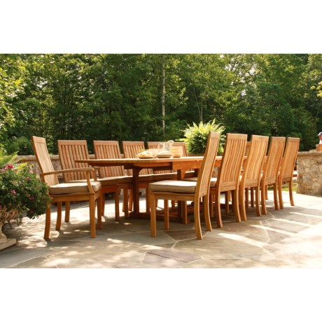 Three Birds Casual Teak Wood Dining Set - 13-Piece, Rectangular Extension Table in Natural