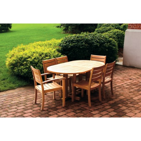 Three Birds Casual Teak Wood Dining Set - 7-Piece in Natural
