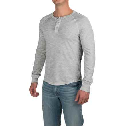 Three-Button Henley Shirt - Long Sleeve (For Men) in Grey Heather - 2nds