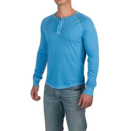 Three-Button Henley Shirt - Long Sleeve (For Men) in Light Blue - 2nds