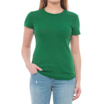 Three Dots Supima®-Micromodal T-Shirt - Short Sleeve (For Women) in Green Pop - Closeouts