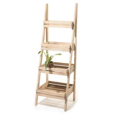Three Hands 4-Tier Wood Storage Rack in Natural - Closeouts