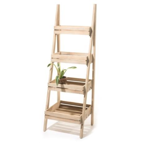 Three Hands 4 Tier Wood Storage Rack In Natural