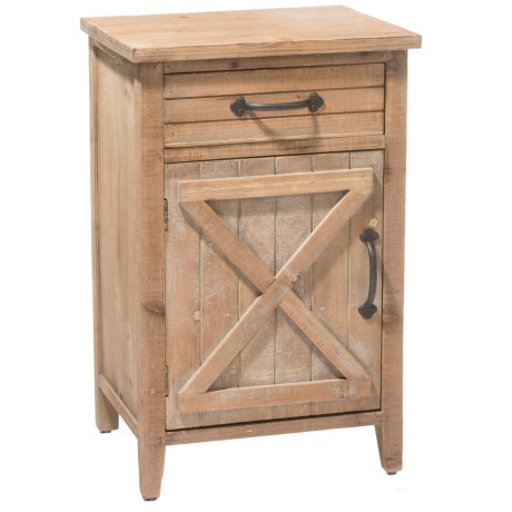 Three Hands Barn Door Wood Storage Side Table in Natural
