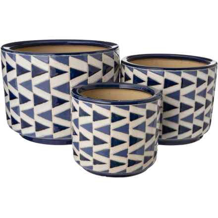 Three Hands Ceramic Planters - Set of 3 in Blue Multi - Closeouts