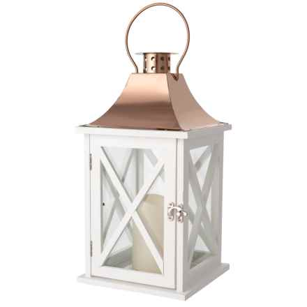 """Three Hands Lantern with LED Candle - 14.5"""" in White/Gold - Closeouts"""