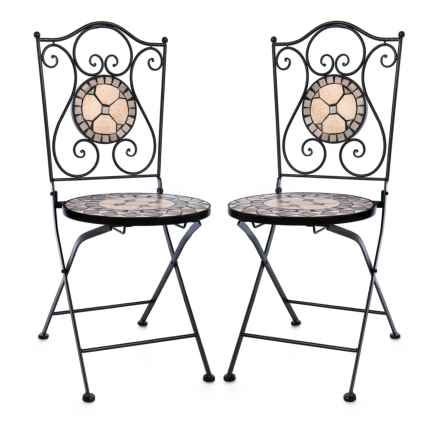 "Three Hands Set of 2 Bistro Chairs with Mosaic Seats - 36.25x18x15"" in Brown Multi - Closeouts"