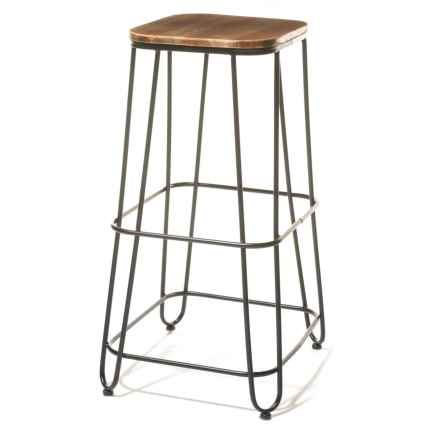 Three Hands Square Wood and Metal Bar Stool in Natural - Closeouts