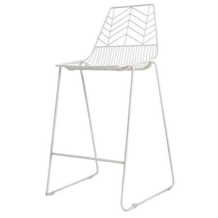 Three Hands White Metal Bar Stool in White - Closeouts