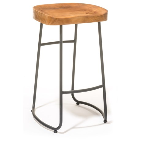 Three Hands Wood and Metal Bar Stool in Natural