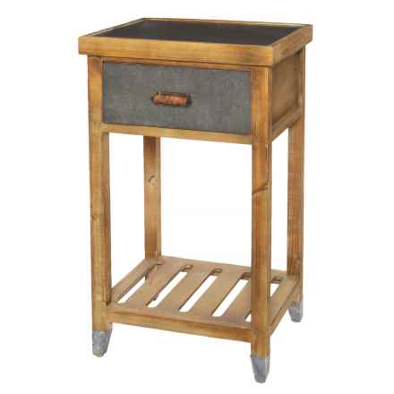 Three Hands Wood and Metal Side Table in Natural - Closeouts