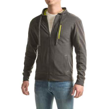 Three-Pocket Solid Zip-Front Hoodie (For Men) in Dark Slate - 2nds