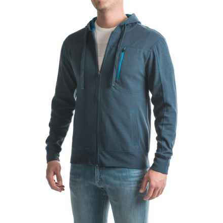 Three-Pocket Solid Zip-Front Hoodie (For Men) in Navy - 2nds