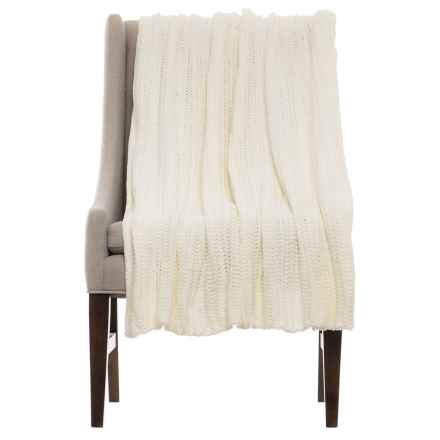 """THRO Ace Egret Knit Blanket - 50x60"""" in Ivory - Closeouts"""