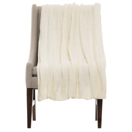 "THRO Ace Egret Knit Blanket - 50x60"" in Ivory"