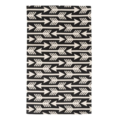 "THRO Alania Arrows Accent Rug - 27x45"" in Black/White"
