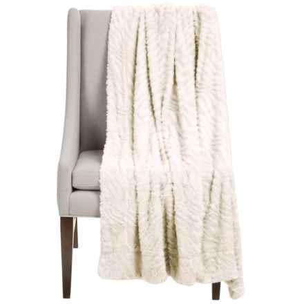"""Thro Ashton Collection Faux-Fur Throw Blanket - 50x60"""" in Egret - Closeouts"""