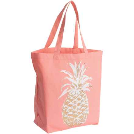 Thro Audrey Pineapple Tote Bag - Cotton in Coral White - Closeouts