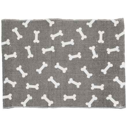 "THRO Bosco Bones Pet Placemat - 13x19"" in Charcoal Bright White - Closeouts"