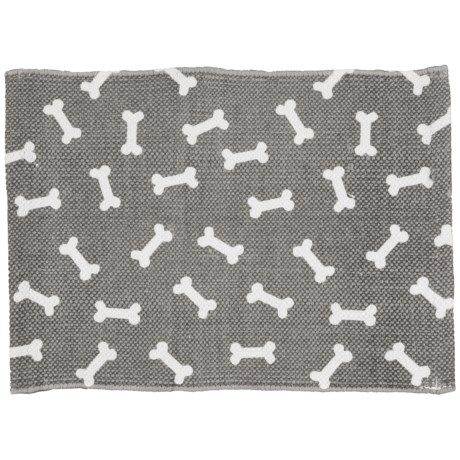 "THRO Bosco Bones Pet Placemat - 13x19"" in Charcoal Bright White"
