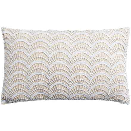"""Thro Branwen Lace-Topped Throw Pillow - 12x20"""" in Silver - Closeouts"""
