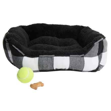 "Thro Cami Flannel Plaid Cuddler Dog Bed - Reversible, 19x22"" in Black White - Closeouts"