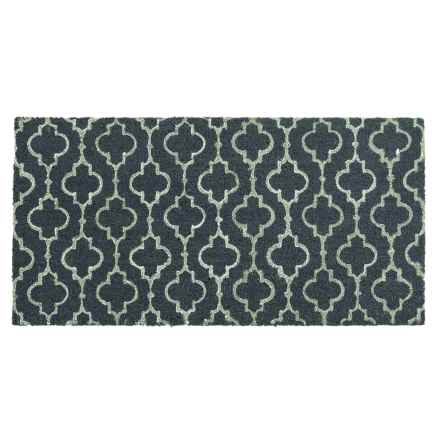 "THRO Casablanca Coir Doormat - 20x40"" in Dusty Blue/White - Closeouts"