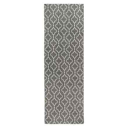 "THRO Casablanca Printed Floor Runner - 2'3""x7' in Charcoal - Closeouts"