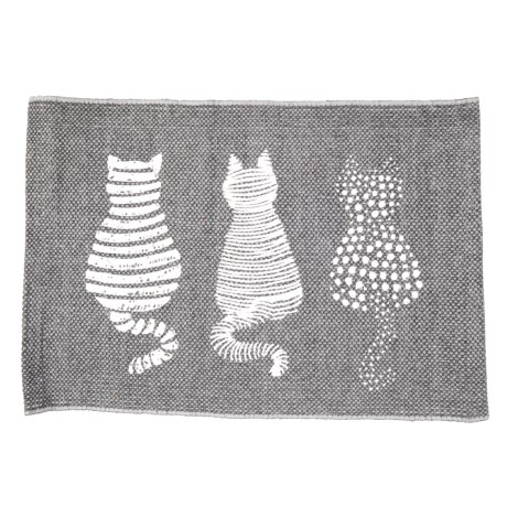 "THRO Casper Cat Placemat - 13x19"" in Charcoal Bright White"