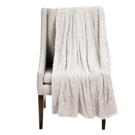 """Thro Collette Collection Sculpted Faux-Fur Throw Blanket - 50x60"""" in Bright White - Closeouts"""