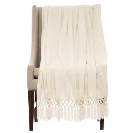 """THRO Crocheted Chenille Blanket - 50x60"""" in Ivory"""