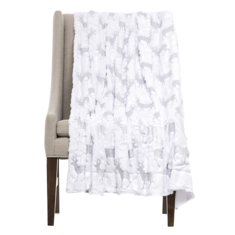 "THRO Danita Foil-Printed Throw Blanket - 50x60"" in Bright White/Silver"