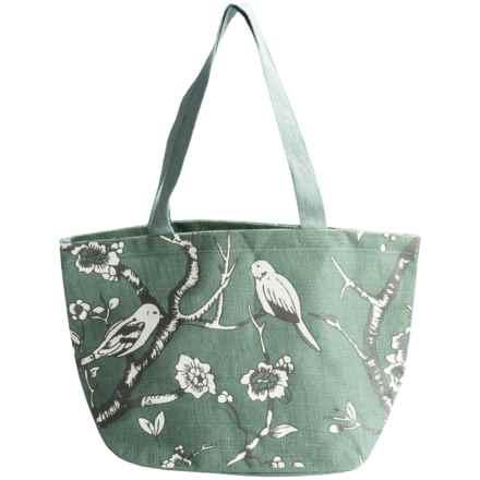 Thro Davion Birds Jute Tote Bag in Harbor Gray - Closeouts