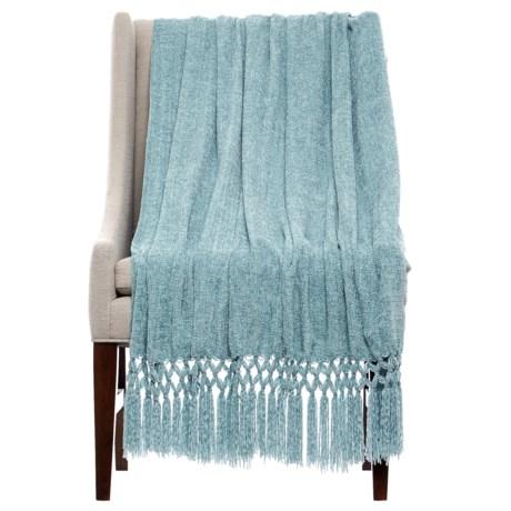 "THRO Dede Arona Crocheted Chenille Blanket - 50x60"" in Grey"
