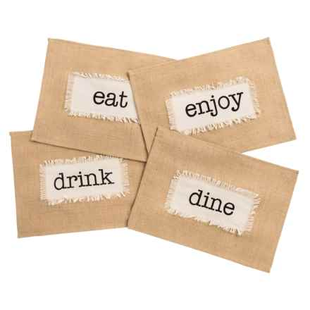 THRO Dining Words Jute Placemats - Set of 4 in Jute - Closeouts